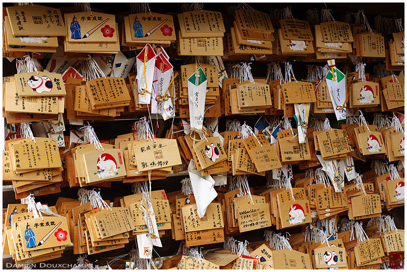 Ema tablets and other votive offerings in Muko-jinja shrine