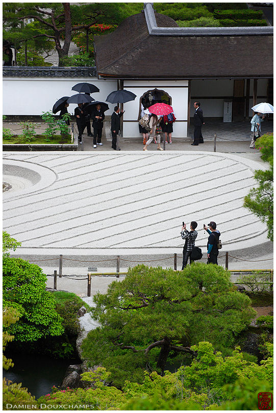 Rainy day in the zen garden of Ginkaku-ji temple