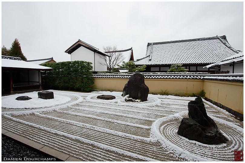 Snow-covered rock garden in Ryogen-in temple, Kyoto