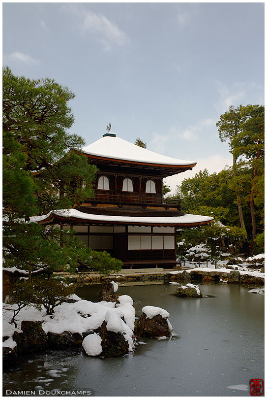 Snow-covered Silver Pavilion, Ginkaku-ji temple, Kyoto