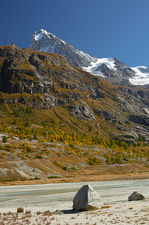 Dent Blanche and the Bricola hut from Ferpecle glacier's retreat zone