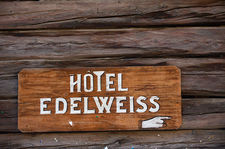 Old hotel sign on an old mazot