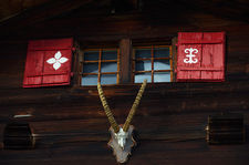 Ibex skull on the facade of a chalet