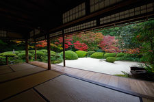Zen garden and autumn colors from the main hall
