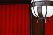 Lantern on red wall, Kitano Tenmangu (北野天満宮)