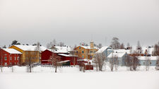 Colorful houses in winter on Pikisaari island