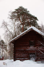 Old granary in winter