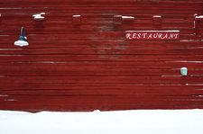 Old restaurant facade in Oulu harbour, Finland