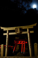 Moonlit torii, Fushimi Inari shrine, Kyoto, Japan