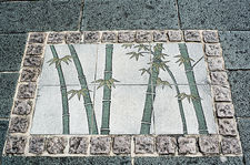 Decorative pavement in the bamboo producing region of Kyoto