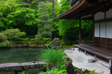 Stone bridge and pond in front of Silver Pavilion, Ginkaku-ji temple