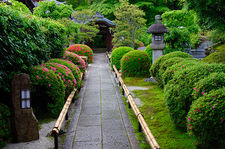 Stone lanterns and rhododendron bushes, entrance of Eisetsu-in temple