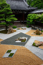 Modern zen garden in temple courtyard, Shinyo-do