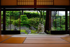 Traditional Japanese room with view on zen garden, Shinyo-do temple (2/2)