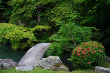 Stone bridge in Shoren-in temple zen gartden