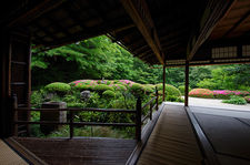 Shisen-do temple hall with view on zen garden