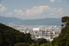Kyoto from a nearby valley