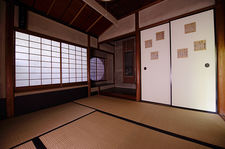 Traditional Japanese room with round window, Raigo-in temple