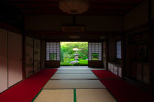 Traditional Japanese room with with on zen garden with lantern, Unryu-in temple