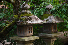 Twin, moss-covered lanterns, Kitano Tenmangu shrine