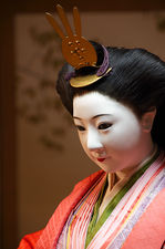 Portrait of a traditional life-sized doll in Hokyo-ji temple