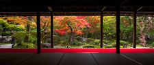 Zen garden in autumn from meditation hall, Enko-ji temple (4/4)