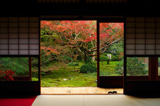 Zen garden in autumn, Unryu-in temple