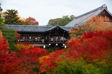 Crowded bridge with autumn colours, Tofuku-ji temple