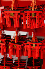 Red torii as votive offerings in Fushimi Inari Taisha
