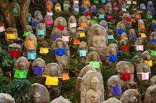Jizo statues with coloured clothing, Kiyomizu-dera temple