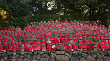 Numerous jizo statues with red cloths, Risho-in temple