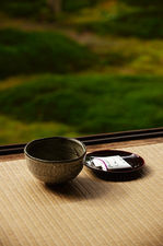 Green tea and sweet on the edge of moss garden, Hosen-in temple, Kyoto