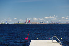 Marina pontoon with Oulu harbour in the distance, Finland