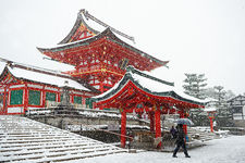 Heavy snow on Fushimi Inari shrine, Kyoto, Japan