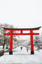 Entrance path to Fushimi Inari shrine in winter, Kyoto, Japan