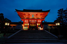 Fushimi Inari shrine entrance gate at dusk, Kyoto, Japan
