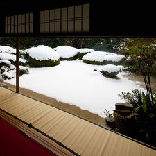 Snow covered dry landscape garden in Shisendo-temple, Kyoto