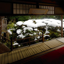Snow covered zen garden in Shisendo-temple, Kyoto