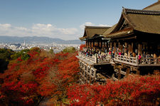 Kiyomizudera temple terrace overlooking Kyoto city, Japan