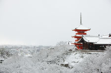 Snow-covered Kiyomizu-dera temple overlooking Kyoto city, Japan